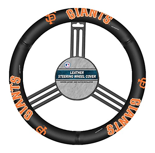 MLB San Francisco Giants Leather Steering Wheel Cover, One Size, Black (Steering Wheel Cover Giants compare prices)