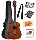 Luna Safari Series Tattoo Travel-Size Dreadnought Acoustic Guitar Bundle with Gig Bag, Strap, Tuner, Strings, Pick Card, and Polishing Cloth