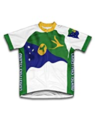 Christmas Island Flag Short Sleeve Cycling Jersey for Women