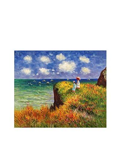 ZARTE DAL MONDO Pintura al Óleo sobre Lienzo Monet Passeggiata Sulla Scogliera