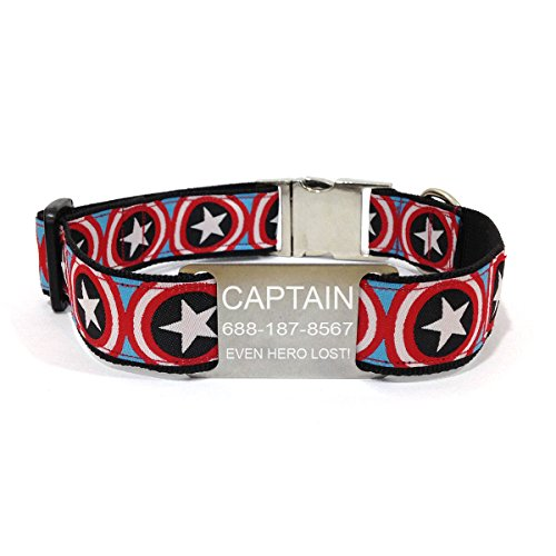 happypettag Personalized Dog Collar - Captain America Personalized Pet Collar 1