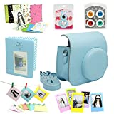 CAIUL 7 in 1 Fujifilm Instax Mini 8 Instant Film Camera Accessories Bundles (Blue Instax Mini 8 Case/ Mini Album/ Close-up Selfie Lens/colors Close-up Lens/ Wall Hang Frames/film Frame/ Film Stickers)