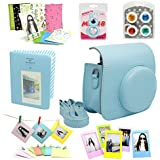 7 in 1 instax Mini 8 Instant Film Camera Accessories Bundles (Blue Instax Mini 8 Case/ Mini Album/ Close-Up Selfie Lens/ 4 colors Close-Up Lens/ Wall Hang Frames/3 inch Film Frame/ Film Stickers)