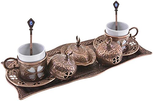 Premium Turkish Greek Arabic Coffee Espresso Serving Set for 2,Cups Saucers Lids Tray Delight Sugar Dish 11pc (Copper Brown) (Turkish Coffee Cups compare prices)