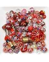 Mélange perles de verre 6 à 28mm rouge
