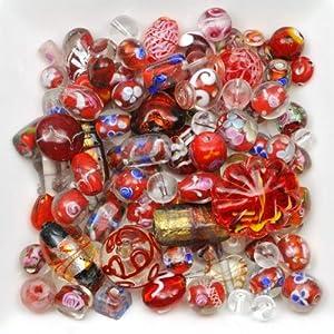 Imagine Perles - Mélange perles de verre 6 à 28 mm rouge
