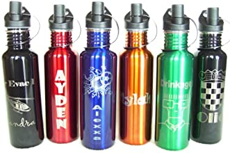 Personalized 25oz Gloss Black Stainless Steel Water Bottle- Laser Engraved - Your Choice of Design