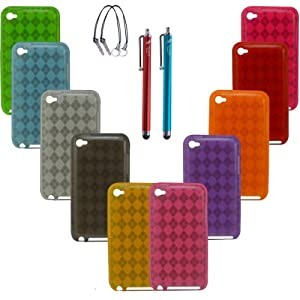 The Friendly Swede (TM) 10 x Checkered TPU Cases for iPod Touch 4/4G/4th Generation - Stylus Pens With Lanyards - Retail Packaging