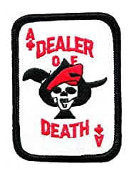 Ace of Spades Dealer of Death Card Embroidered Patch Iron-On Vietnam War Skull Emblem