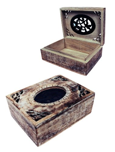 Classic Christmas Gifts Vintage Hand Carved Natural Wooden Jewelry Box with Beautiful Metal Work Birthday Gift Ideas for Her Women & Girls