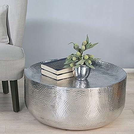 Tavolino da salotto Sidney, martellato, argento, D70cm