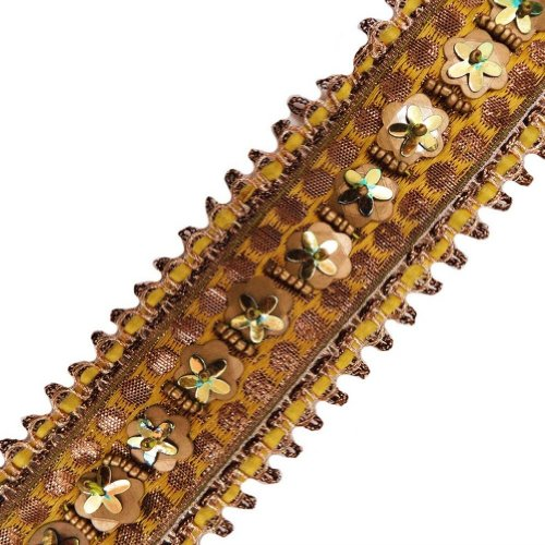 Yellow Base Beaded Trim Multireflecting Sequin Women Border Lace Sewing Craft 3 Yd