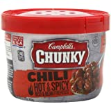 Campbell's Chunky Hot & Spicy Beef & Bean Firehouse Chili, 15.25 Ounce Microwavable Bowls (Pack of 8)