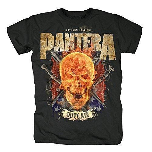 PANTERA - OUTLAW SKULL - OFFICIAL MENS T SHIRT - cotone, Nero, 100% cotone, Uomo, Medium