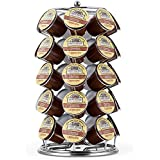 K cup holder, Oak Leaf Coffee Storage Spinning Carousel Organizer for Keurig K-Cups Brewers Pods - 35 Pod Capacity, Chrome