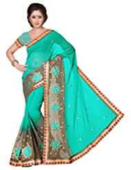 Suchi Fashion Turquoise And Light Brown Embroidery, Diamond And Lace Work Georgette Party Wear Saree