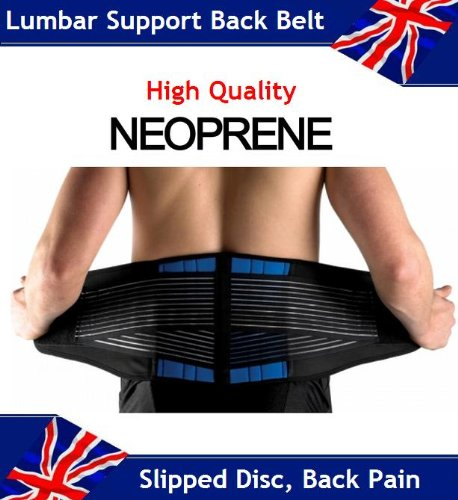 Adjustable Neoprene Double Pull Lumbar Support Lower Back Belt Brace - Back Pain / Slipped Disc Pain Relief - 5 Sizes (S, M, L, XL, XXL)