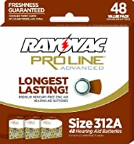 Rayovac Proline Size 312 Hearing Aid Batteries, 48 Pack