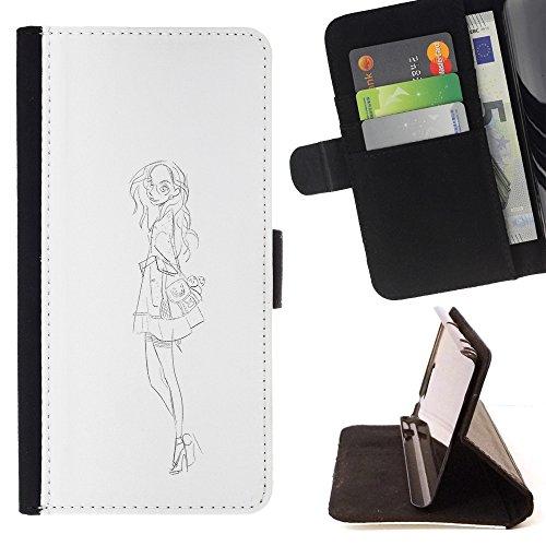 RenCase / PELLE FLIP CUSTODIA CASE PROTEZIONE COVER per LG G5 - Fashion Sketch abito bianco nero
