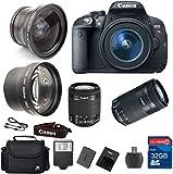 Canon T5i DSLR Camera + 18-55mm IS STM Lens + 55-250 IS STM Telephoto Lens + Wide Angle Lens +Telephoto Lens + 32GB Memory + Flash - International Version