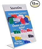 Source One 8.5 x 11 Thick Acrylic,Slant Back Sign Holder, Ad Frame, Pack of 12 (S1-ECO-12-8511)