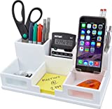 Victor® Wood Desk Organizer with Smart Phone Holder, Pure White