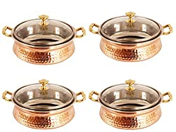 IndianArtVilla 4.3 X 6.8 X 2.5 Handmade High Quality Stainless Steel Copper Casserole Dish Serving Indian Food Daal Curry Set of 4 Handi Bowl With Glass Tumbler Lid Capacity 700 ML for use RestaurantGift Item
