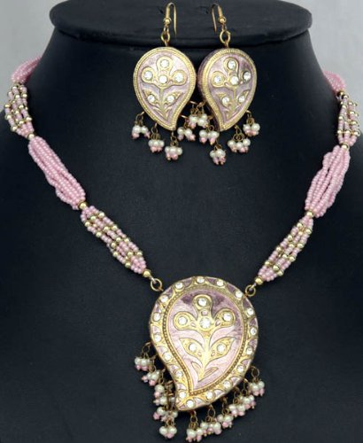 Pink Meenakari Necklace and Earrings Set with Large Paisleys - Lacquer with Cut Glass