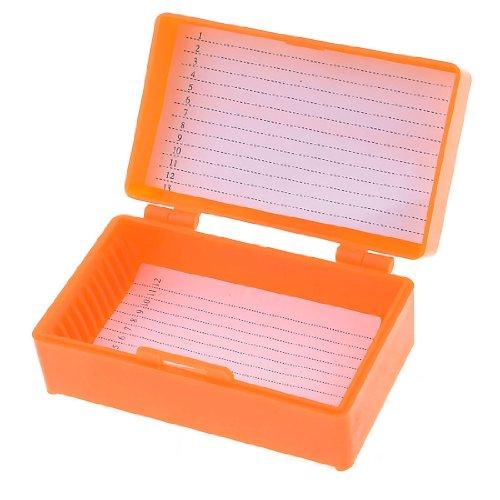 8Cm X 4.5Cm Chemical Experiment 12 Slides Microscope Box Orange