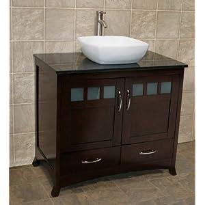 36 bathroom solid wood vanity cabinet black granite top vessel sink