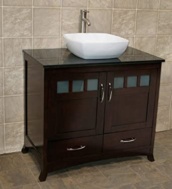 "36"" Bathroom Solid wood Vanity Cabinet Black Granite Top Vessel Sink TR8"