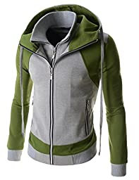 (LCJ17) TheLees Mens Double Zipper Hood Jacket GRAYKHAKI US M(Tag size XL)