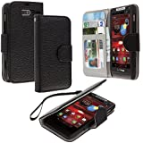 Accessory Planet(TM) Black Wallet Leather Pouch Case Cover with Credit Card Slots Holder Accessory for Motorola Droid Razr M XT907
