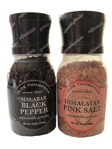Olde Thompson Malabar Black Pepper & Himalayan Pink Salt Gourmet Grinder Set of 2