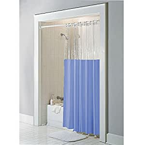 Slate Blue Anti Bacterial Vinyl Window Shower Curtain