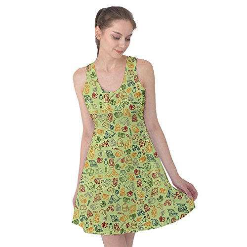 PattyPattern Womens Camping Elements Line Drawing Pattern Reversible Sleeveless Dress (XL, Light Green) (High Waist Griddle compare prices)