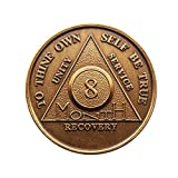 8 Month Bronze AA (Alcoholics Anonymous) - Sober / Sobriety / Birthday / Anniversary / Recovery / Medallion / Coin / Chip by Generic
