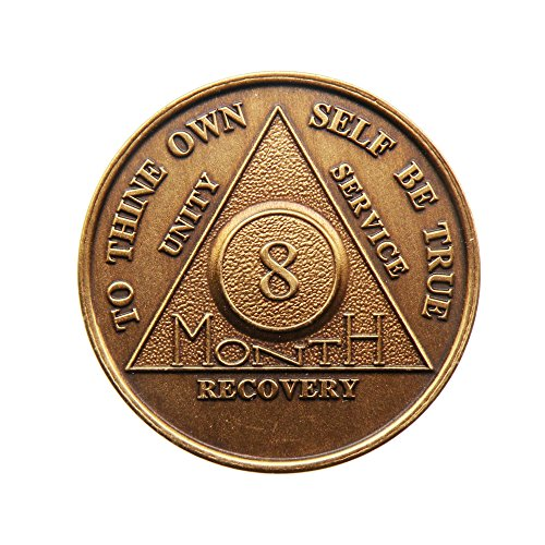 8 Month Bronze AA (Alcoholics Anonymous) - Sober / Sobriety / Birthday / Anniversary / Recovery / Medallion / Coin / Chip - 1