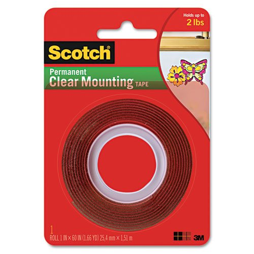 "3M Scotch 4010 Acrylic Double Sided Mounting Adhesive Tape, 60"" Length X 1"" Width, Clear"