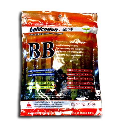 Airsoft BBs .20g Black Golden Ball sniper BBs 4000 round bag GB4020BK