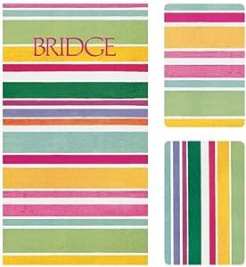 Entertaining with Caspari Bridge Gift Set with Jumbo Typeface, Cabana