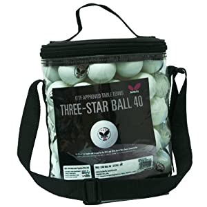 Butterfly 3-Star Ball Bucket - 72 White Balls by Butterfly