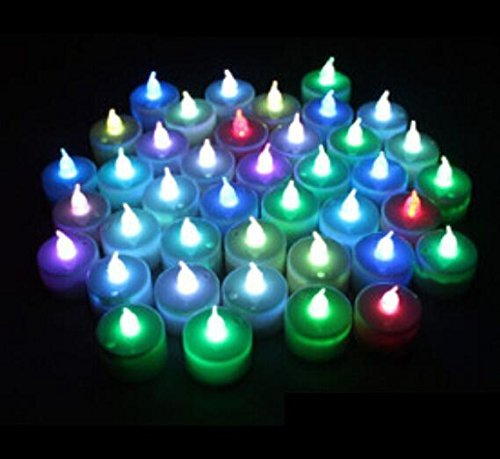 Color Changing Everlasting Tealights Candles With 7 Rainbow Colors- Set Of 12