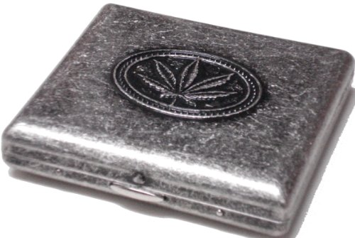 Marijuana cigarette case tobacco case silver antique brass art craft good luck necklace comes with