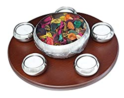 UberLyfe Premium 6 Pieces Aroma Tea Light Cum Potpourri Set with Wooden Turn Table-TL-000387-DCS7P_A