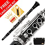 150-BK - BLACK Ebonite/SILVER Keys Bb B flat Clarinet Lazarro+11 Reeds,Case,Care Kit~24 COLORS Available,CLICK on LISTING to SEE All Colors