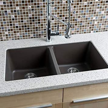 "Miseno MGR33185050 33"" Undermount Double Bowl Granite Composite Kitchen Sink wit, Mocha"