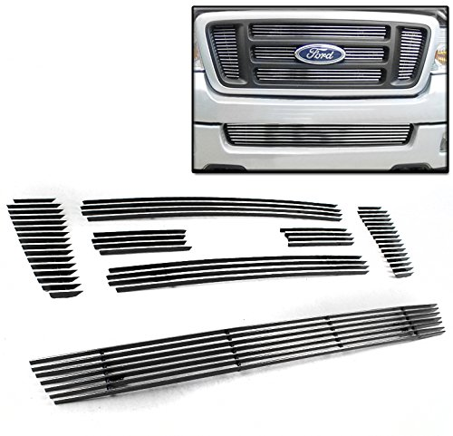 ZMAUTOPARTS Ford F150 Bar Style Front Upper+Bumper Billet Grille Insert Combo 7Pcs (Svt Lightning Front Bumper compare prices)