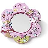 Pink Glittery FAIRY FLOWER Wall MIRROR (19cm High) LUCY LOCKET