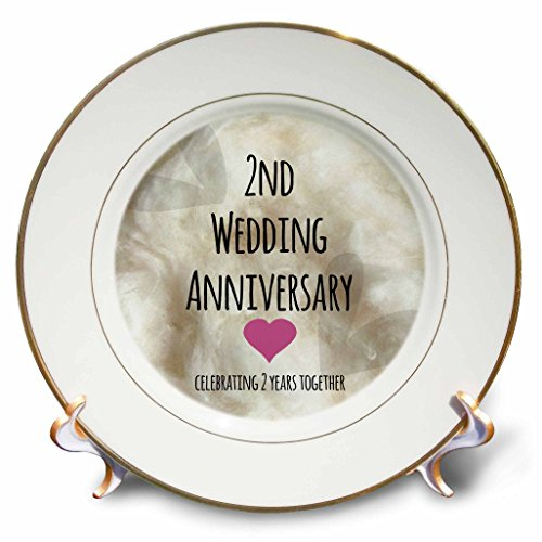 3dRose cp_154429_1 2nd Wedding Anniversary Gift Cotton Celebrating 2 Years Together Second Anniversaries Two Years Porcelain Plate, 8-Inch